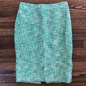 Jcrew No2 green Tweed Pencil Skirt sz00